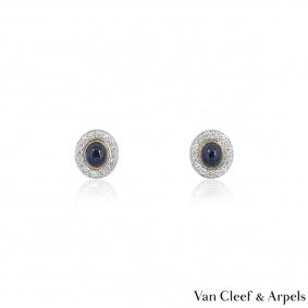 Van Cleef & Arples Yellow Gold Sapphire & Diamond Clip Earrings